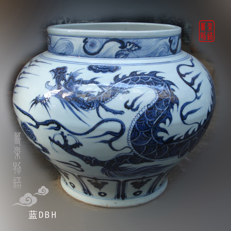 Jingdezhen hand painted blue and white imitation yuan blue and white porcelain dragon jaw large cans of high imitation su ma from the green porcelain jar