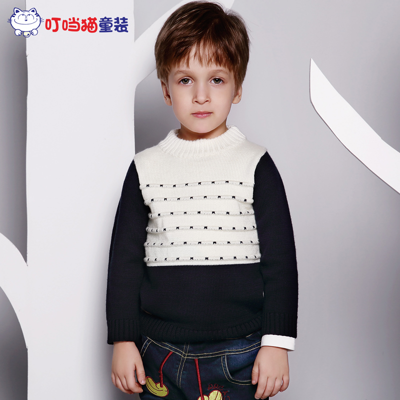 Jingle cats kids fashion boys in autumn and winter wind of england children in children's casual turtleneck sweater knit wool sweater