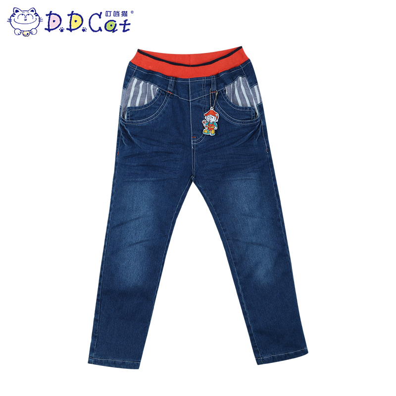 Jingle cats kids fashion boys winter thick denim pants medium and small boy child warm thick jeans