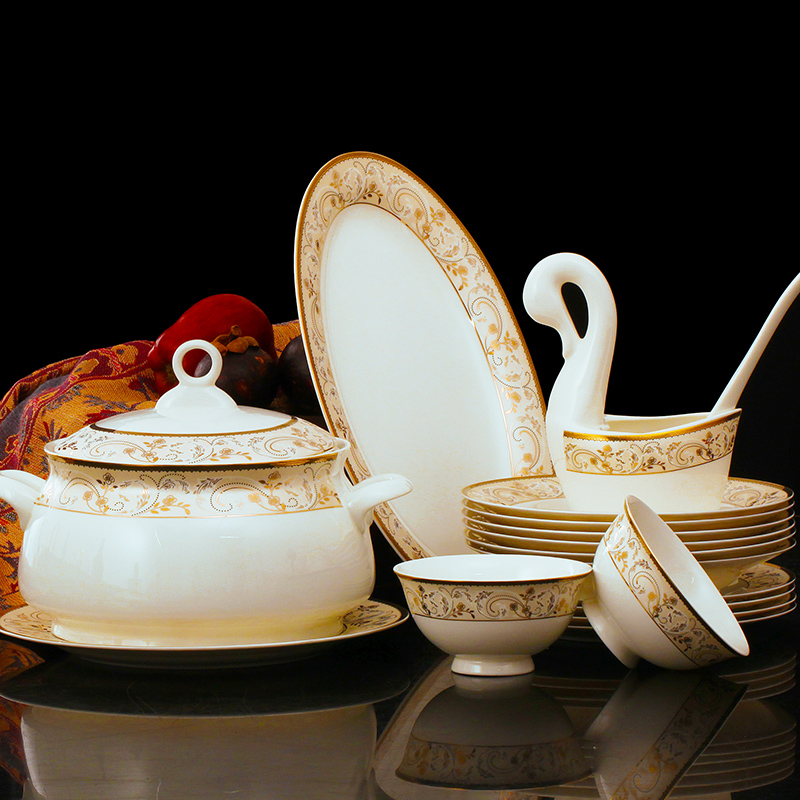 Jingren-jingdezhen ceramic dishes suit 56 bone china tableware suit crockery european household tableware phnom penh