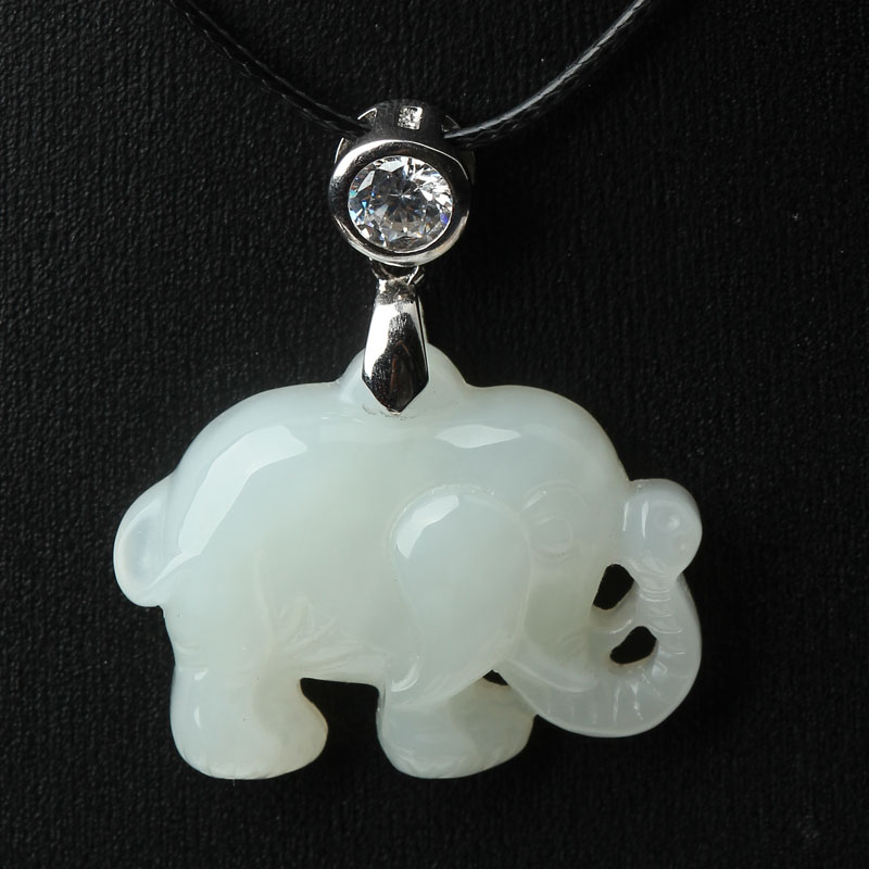 Jinshi yu sheng genuine natural and tian baiyu peace elephant pendant