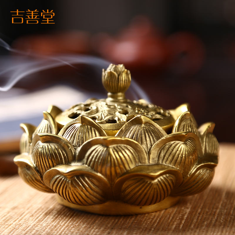 Jishan tang copper lotus incense censer creative ornaments aromatherapy furnace furnace sandalwood incense coil incense bedroom home 0030