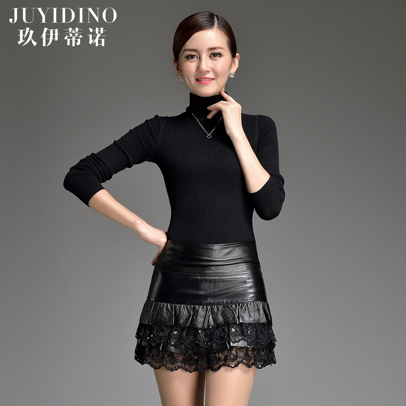 Jiu yi dinuo new sexy lace sheep skin leather short leather skirt skirts slim haining leather skirt leather culottes