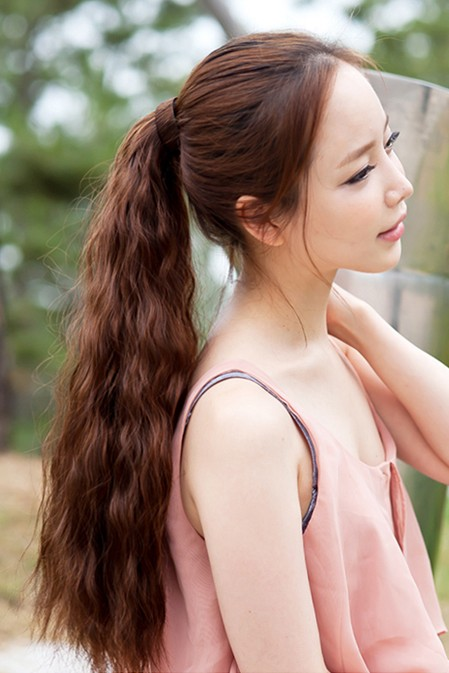 Jiuzhou city of human hair corn hot fake ponytail ponytail wig slightly curled ponytail ponytail real shot