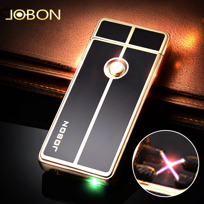 Jobon bang double arc usb charging lighter windproof creative personality slim electronic lighter custom lettering