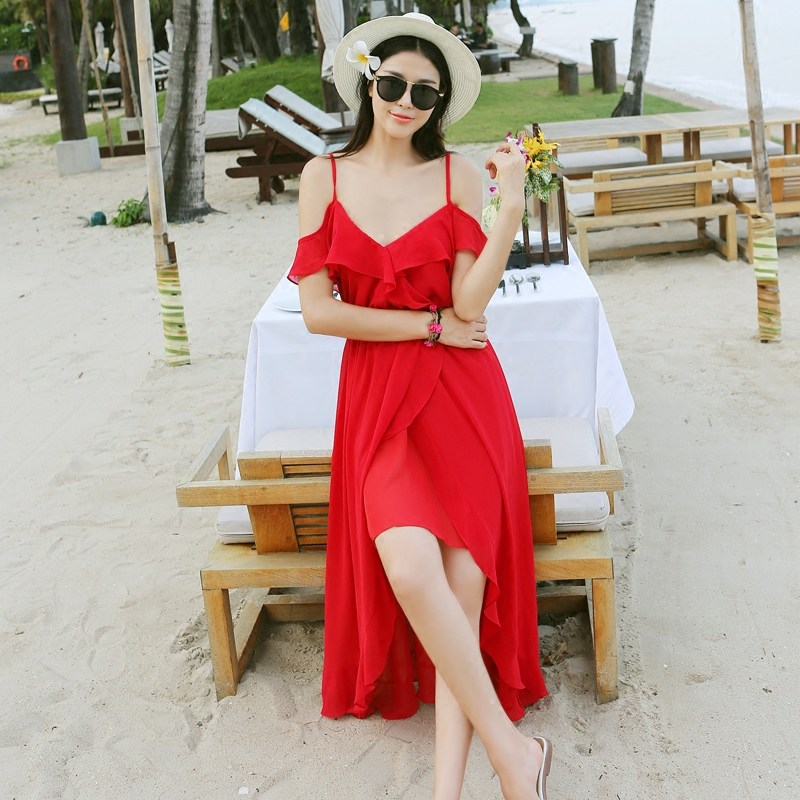 Jocr/joan kabob flounced chiffon strapless dress bohemian seaside resort beach dress was thin dress