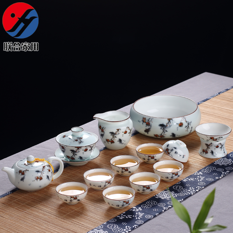 Joint household ceramic bowl painted blue and white porcelain tea to wash the entire kung fu tea tea cup teapot tureen