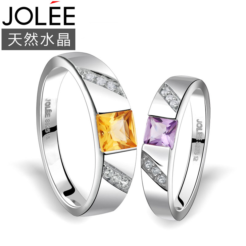 Jolee yu lan natural crystal s925 silver couple rings rings tanabata valentine's day gift to send female friends