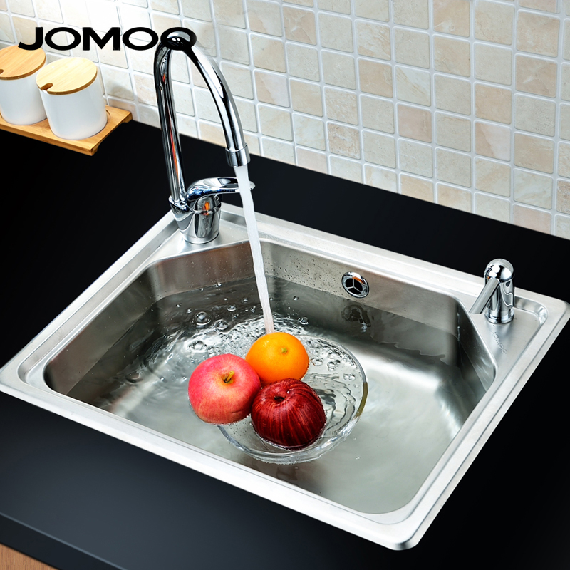 Jomoo jiumu kitchen sink package vegetables basin sink thick 06059 stainless steel sink single 304