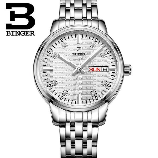 Jordan chan endorsement genuine binger accusative steel watches ladies quartz watch steel waterproof watch female form crossroad