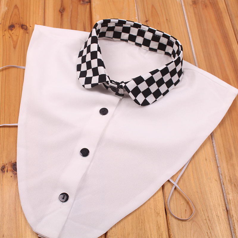 Jorsfan female black and white plaid chiffon shirt collar fake fake collar false collar shirt collar bust fake collar shirt collar decorative collar