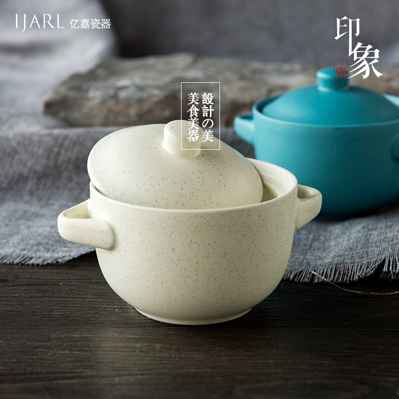 Ka billion japanese ceramic tableware creative soup bowl single impermeable nest slow cooker steaming cup household nordic impression