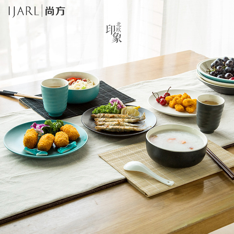 Ka billion japanese ceramic tableware set of creative dishes chopsticks spoon household single people eat a suit 6 sets of tableware