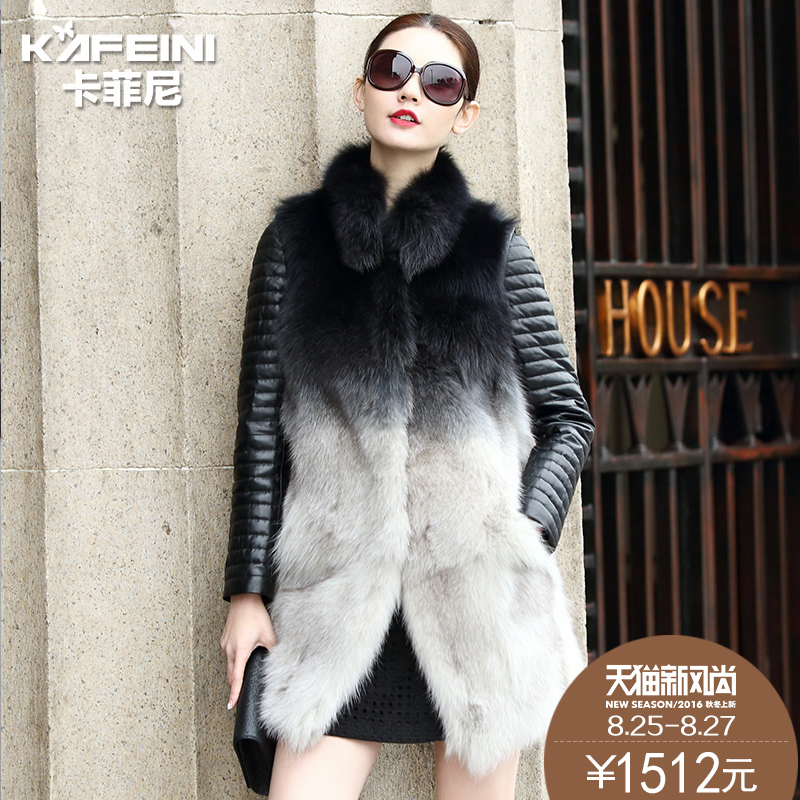 Ka feini 2015 new haining leather leather female fox fur leather feather velvet dress and long sections fur coat in winter