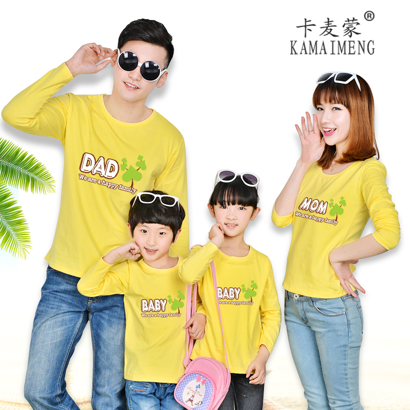 Ka maimeng 2016 korean version of the new spring family fitted long sleeve t-shirt three family pack mother and father and family tree