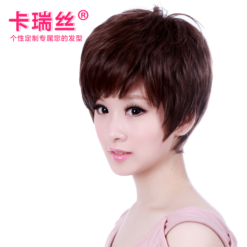 Ka ruisi real hair wig middle-aged mom short straight hair wig hair wig female short hair black years