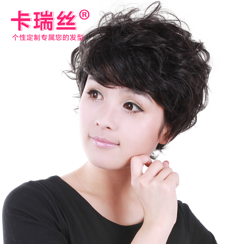 Ka ruisi wig middle-aged mom real hair wig short hair wig wig middle-aged woman with short hair female