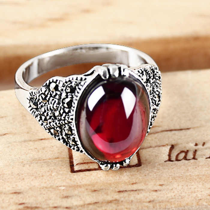 Ka shun female index finger ring personalized fashion palace retro thai silver garnet ruby ring 925 silver silversmith