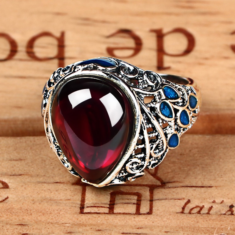 Ka shun ka shun 925 thai silver garnet gemstone rings female cloisonn drip retro national wind big ring
