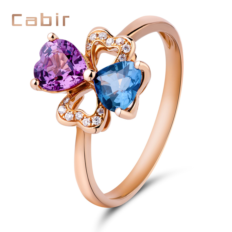 Kabir 13.358kj no burning natural sapphire ring 1ct k rose gold female pink red sapphire diamond inlay