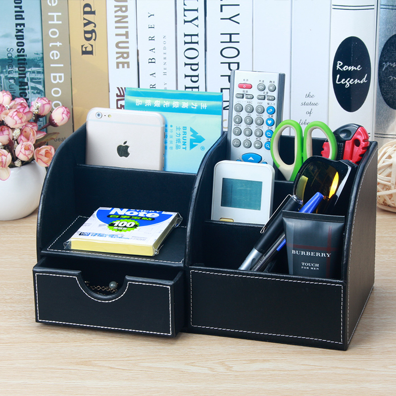 Kafu lan multifunction leather office desktop storage box finishing box storage box office stationery pen