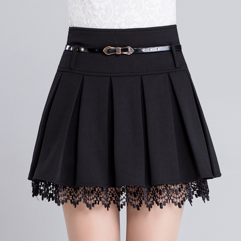 Kagi deer 2016 summer new skirt skirts pleated skirt female college wind fashion bottoming lace skirts