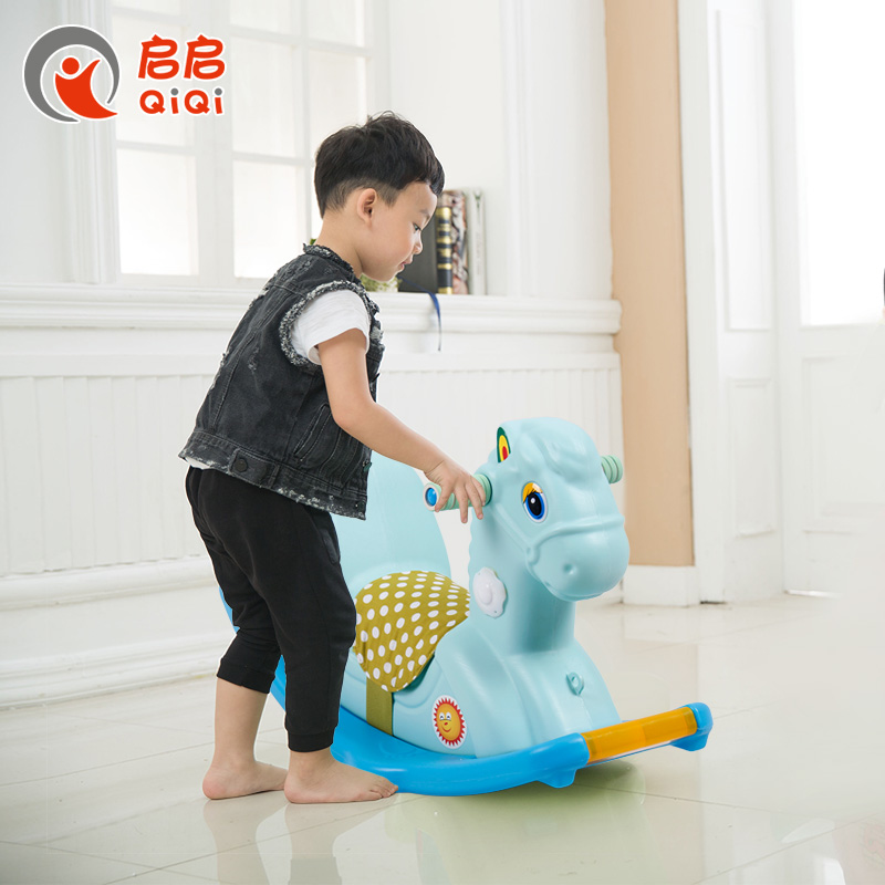 Kai kai thick rocking horse rocking horse toys for children trojan horse shook his baby birthday gift small green plastic rocking horse rocking horse with music