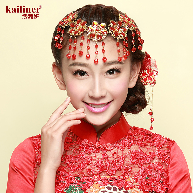 Kailiner bride headdress red chinese wedding bride head flower hair ornaments handmade crystal beaded jewelry accessories