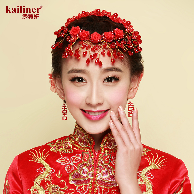 Kailiner chinese dress red diamond crown bride headdress flower hair accessories hair hoop dress accessories headdress