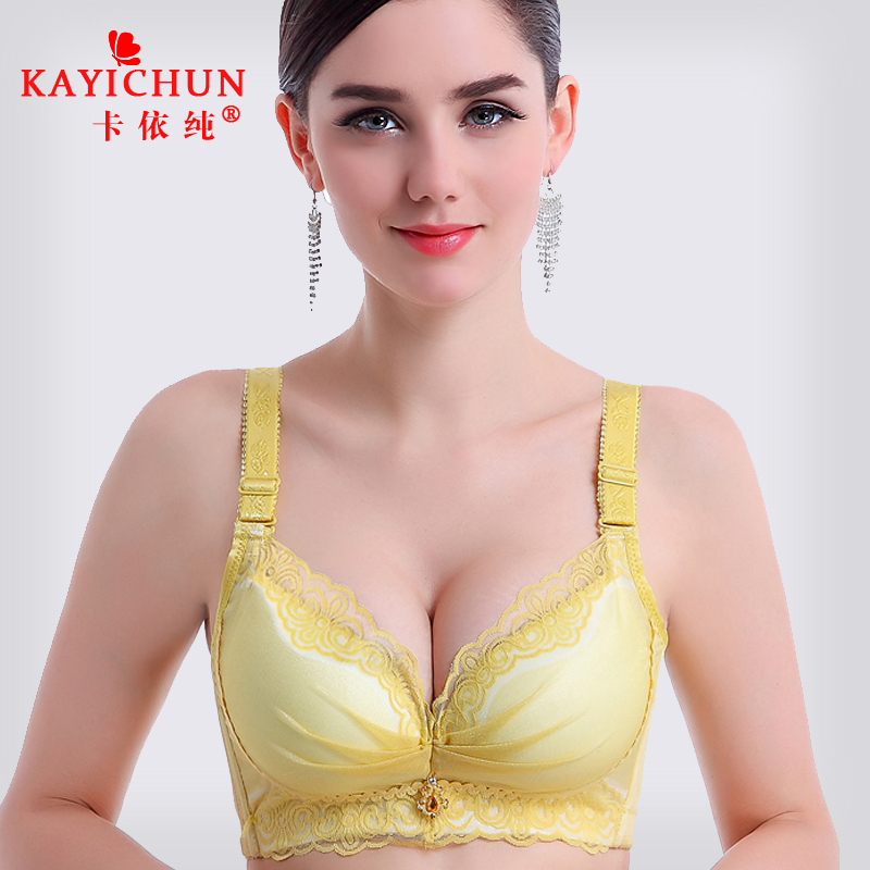 Kaiz pure deep v gather adjustable closing furu no rims bra small bra in the thick sexy lace underwear woman