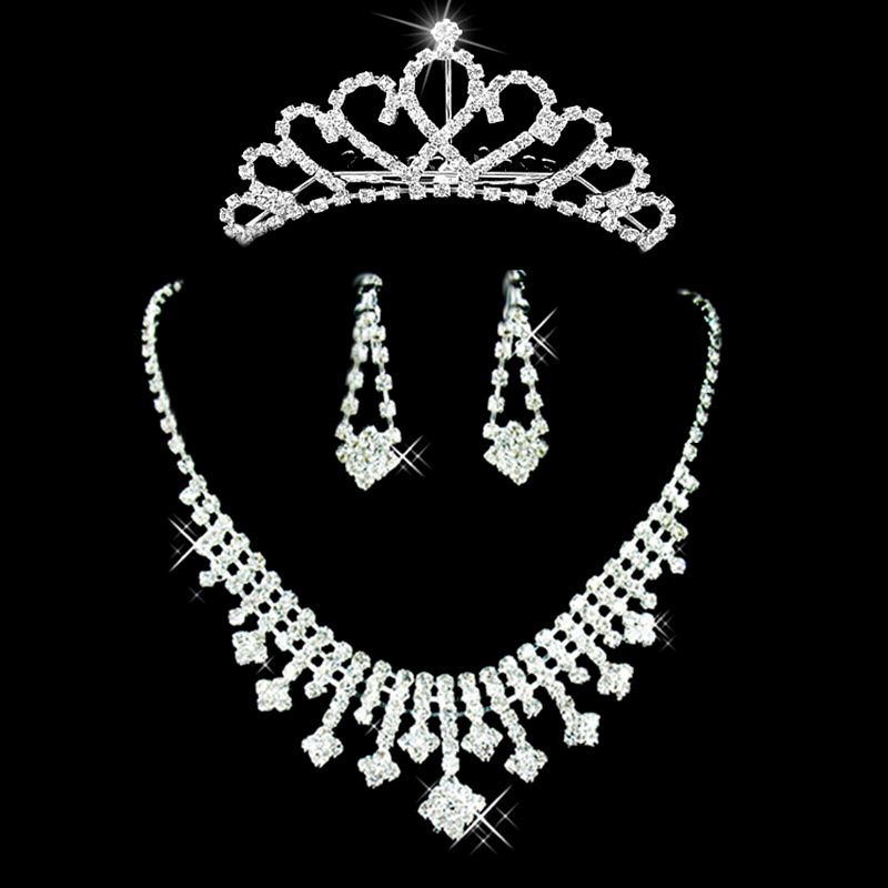 Kalu snow crown necklace earrings set bridal wedding jewelry accessories wedding crown necklace white