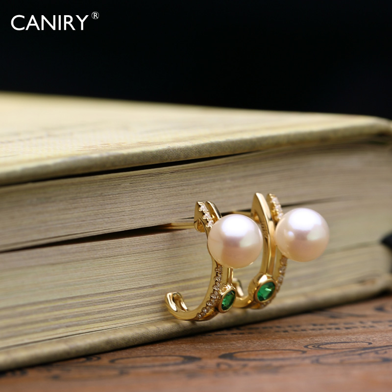 Kani rui CANIRY6.5-7mmAKOYA japanese natural seawater pearl earrings k chic