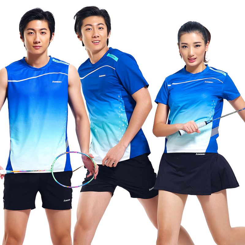 Kawasaki badminton clothing sportswear summer round neck short sleeve t-shirt lovers t-shirts for men and women 15119