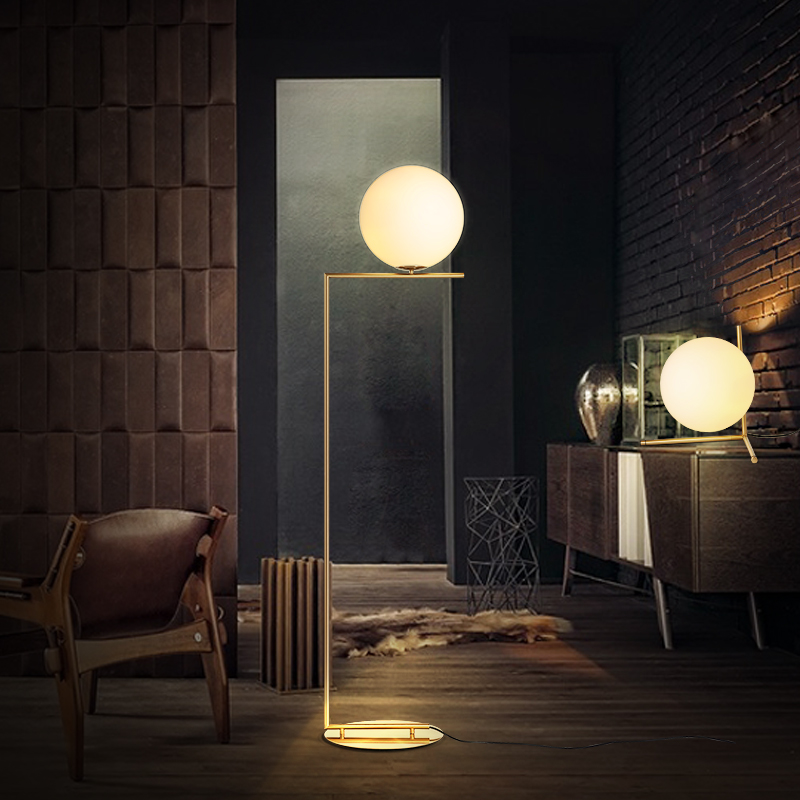 Kc nordic modern minimalist glass ball floor lamp floor lamp personality living room bedroom bedside sofa ball floor lamp