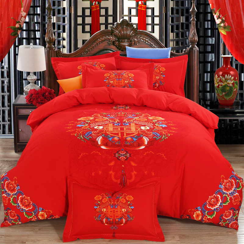 Ke nair thick cotton brushed cotton denim wedding big red wedding bedding wedding dragon