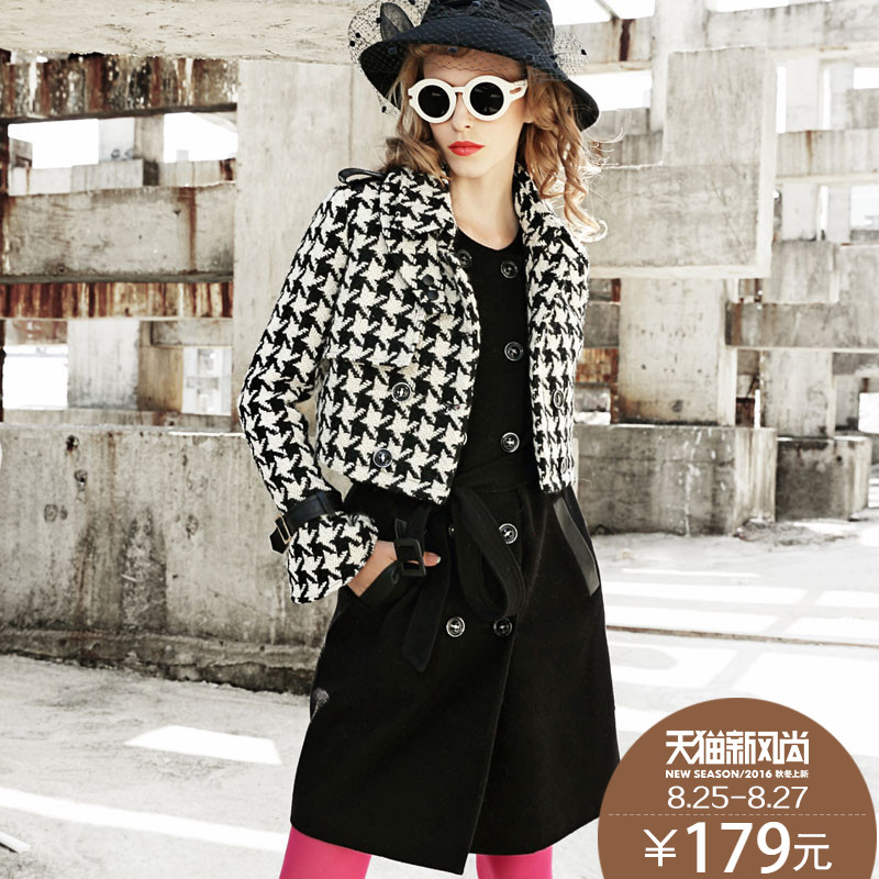Ke ya gold houndstooth wool coat female tide europe station 2016 spring new european and american fashion small fragrant wind suit