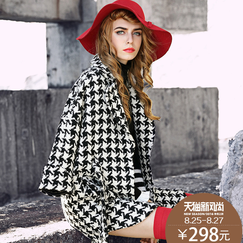 Ke ya gold houndstooth wool coat girls long section of the european station 2016 spring new european and american fashion wool coat