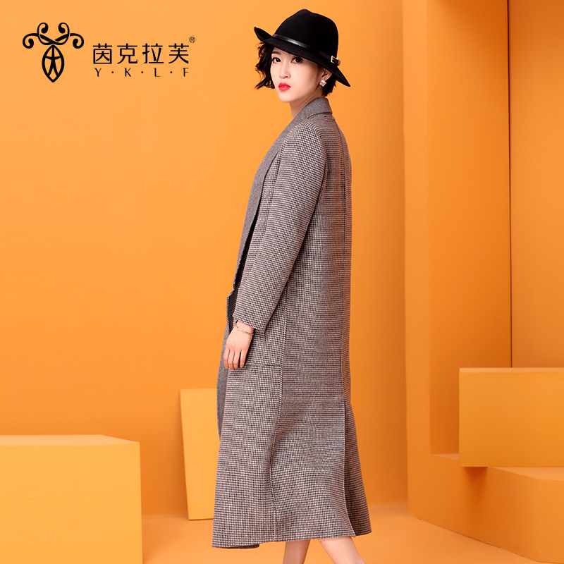 Kela fu yan 2016 winter new houndstooth temperament long section of handmade sided sheep wool coat woolen coat
