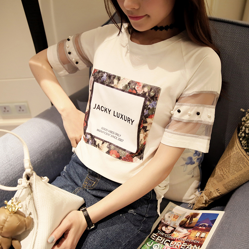Kelly ting spring and summer 2016 korean version of the stylish and comfortable summer new women with lace flowers english letters t-shirt tide