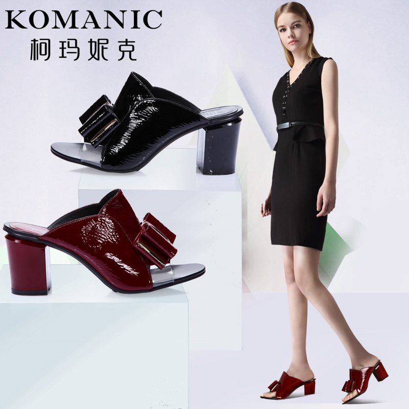 Kema penny discounted summer new elegant women shoes patent leather bow thick heels leather sandals and slippers