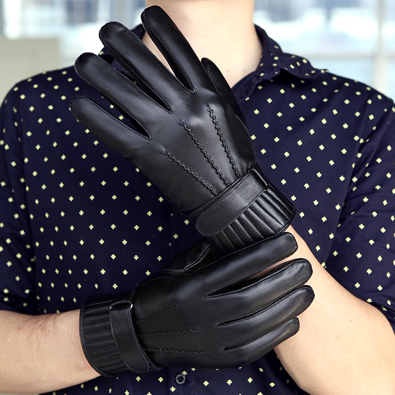 Ken nashi leather gloves leather gloves male korean version plus velvet thick warm winter cycling gloves sheepskin gloves