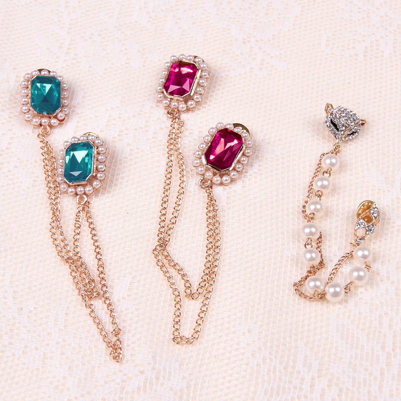 Kerry sanskrit meters fox korean fashion rhinestone collar shirt collar pin buckle small pearl brooch crystal brooch barbed horse collar pin female