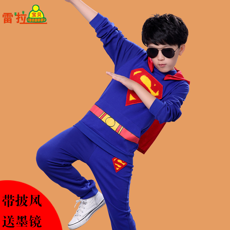 Kids 2016 new superman altman kids boys spring and autumn suit spring models of child halloween costume