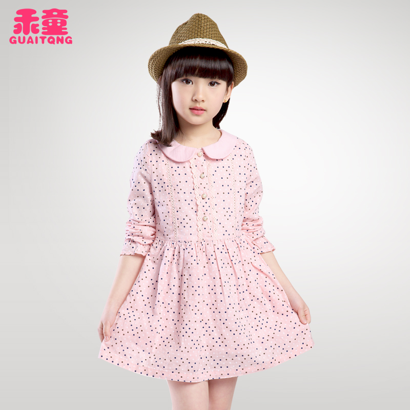 Kids 2016 spring new small girls spring and autumn korean version of spring female child princess dress cotton long sleeve dress tide
