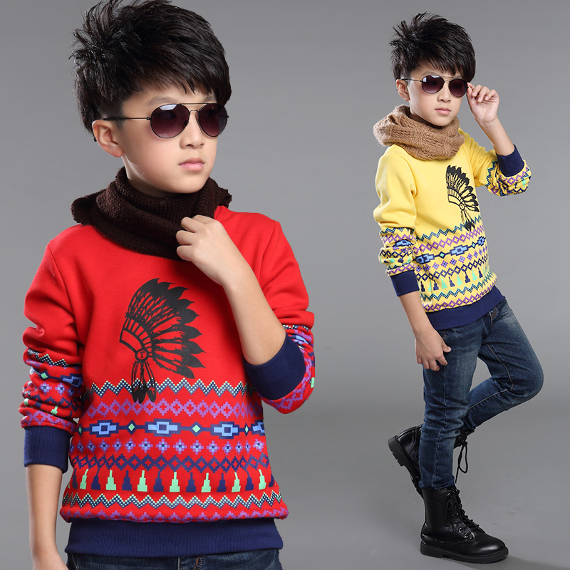 Kids boys long sleeve t-shirt 2016 new big virgin plus velvet autumn 12 bottoming shirt children's clothes 13-15-year-old