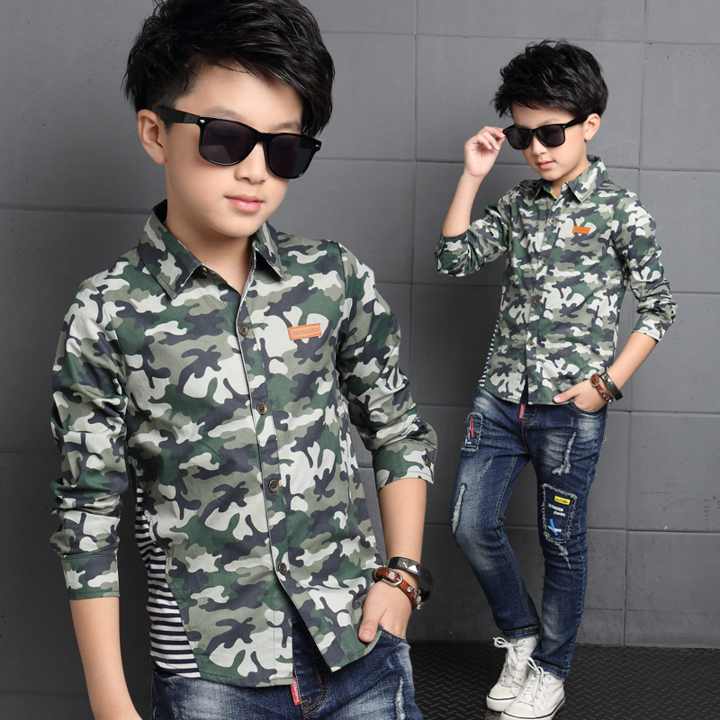 Kids boys shirt long sleeve shirt autumn paragraph boys spring and autumn 2016 new big virgin camouflage thin coat children