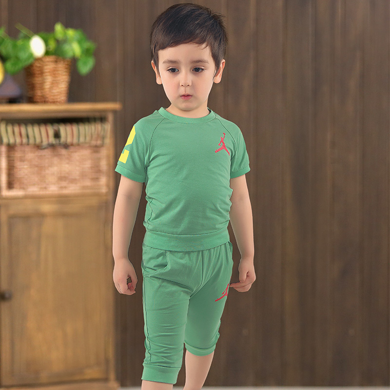 Kids boys suit 2016 new summer male solid color baby child cotton t-shirt + shorts piece fitted