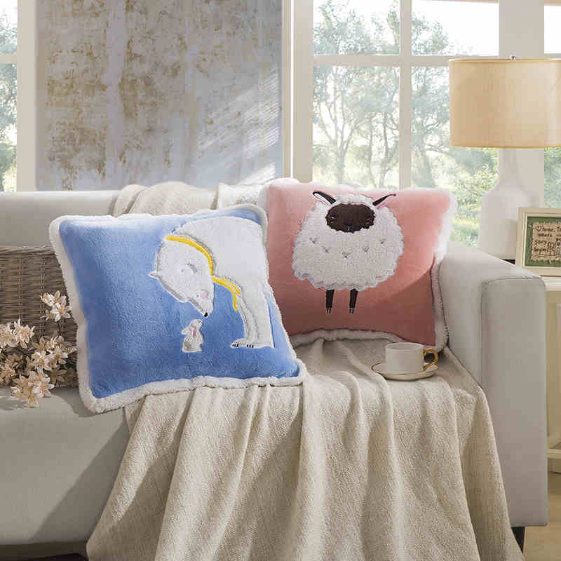 Kids carolina carolina textile lovo blanket cushions office pillow sleep aids cotton lamb/samelitter versatile pillow