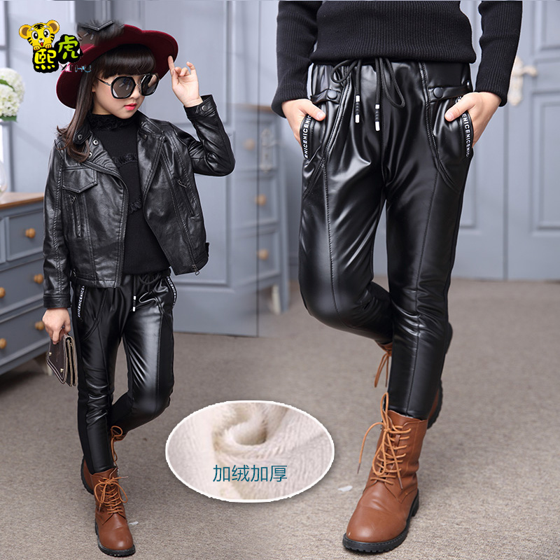 Kids fall and winter clothes for girls 2016 new children's leggings girls plus thick velvet pu leather pants leather pants winter