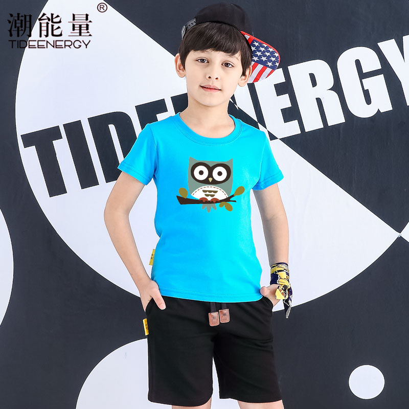 Kids summer 2016 new boys and girls summer korean version of the owl cartoon children's short sleeve t-shirt sleeve clothes